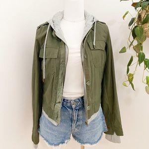 Olive green cargo hoodie jacket